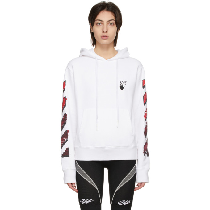 Off-White Cottons OFF-WHITE WHITE SLIM MARKER HOODIE