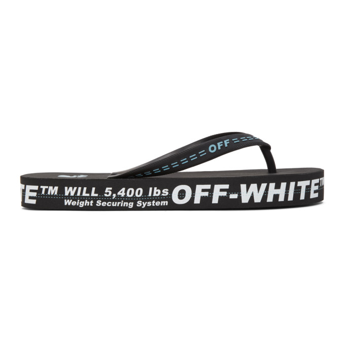 OFF-WHITE OFF-WHITE BLACK AND WHITE WEIGHT SECURING SYSTEM FLIP FLOP SANDALS