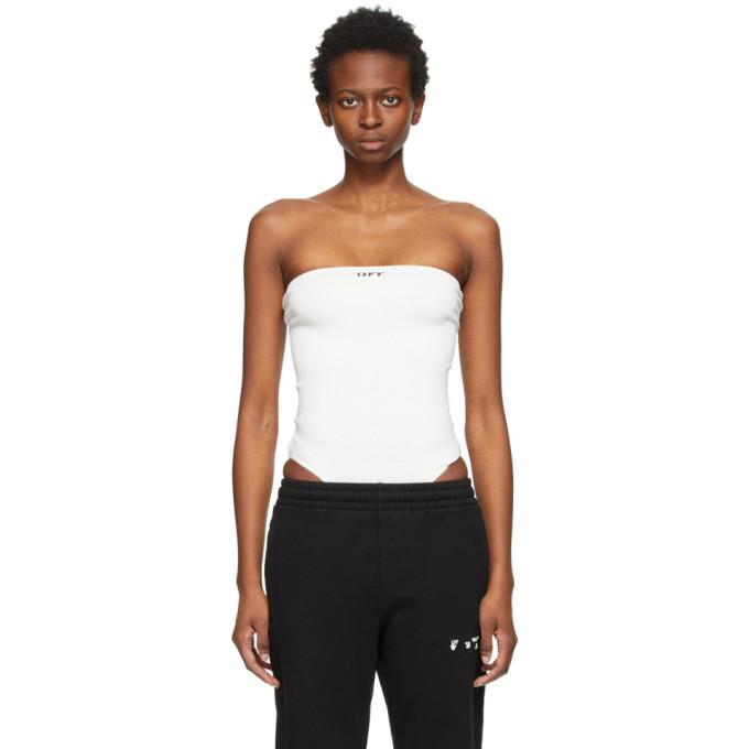 Off-White Bodysuits OFF-WHITE WHITE RIB STRAPLESS BODYSUIT