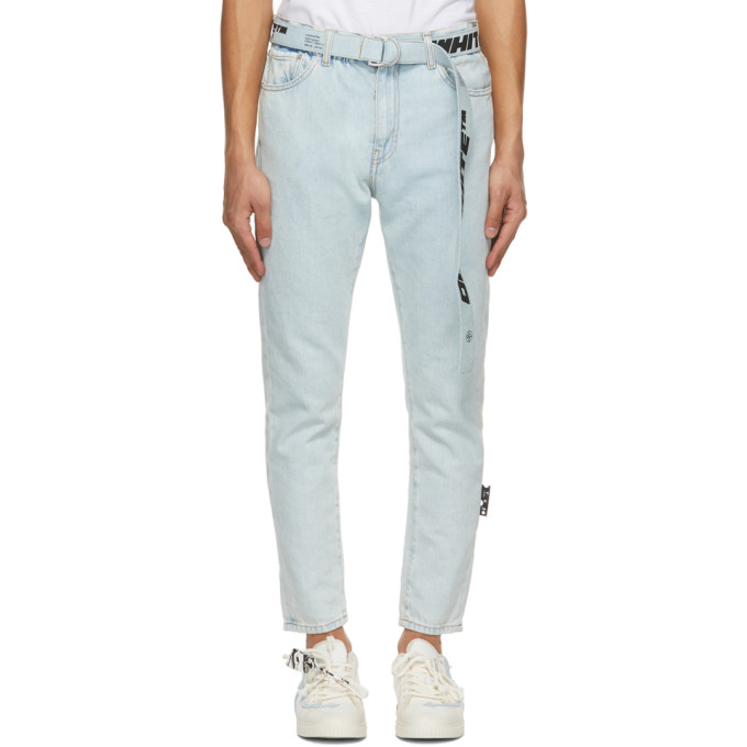 Off-White Cottons OFF-WHITE BLUE SLIM FIT BELTED JEANS