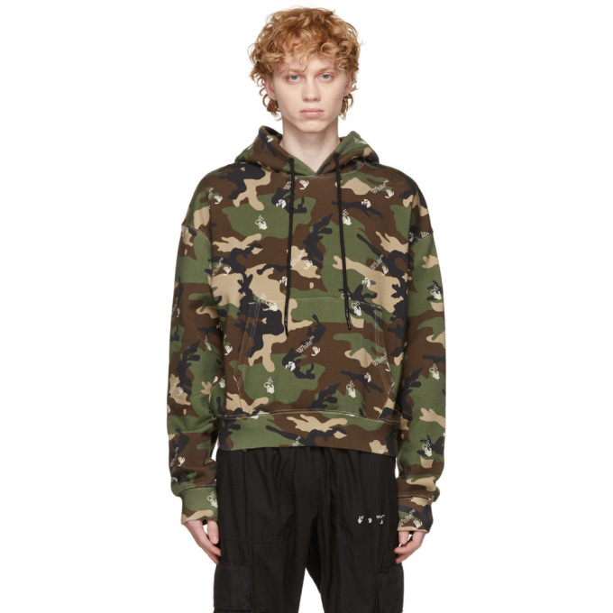 Off-White Cottons OFF-WHITE GREEN AND BROWN CAMOU HOODIE