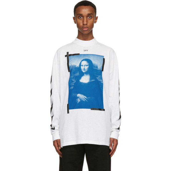 Off-White T-shirts OFF-WHITE WHITE MOCK NECK MONA LISA LONG SLEEVE T-SHIRT