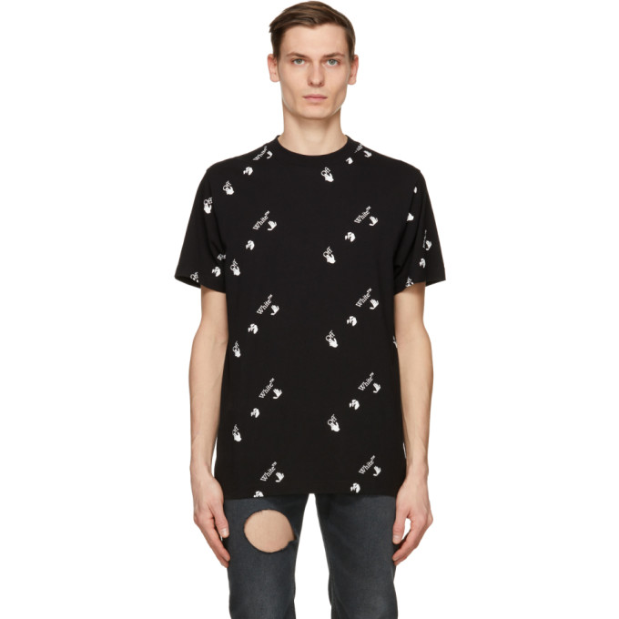 Off-White Cottons OFF-WHITE BLACK AND WHITE ALL OVER LOGO T-SHIRT