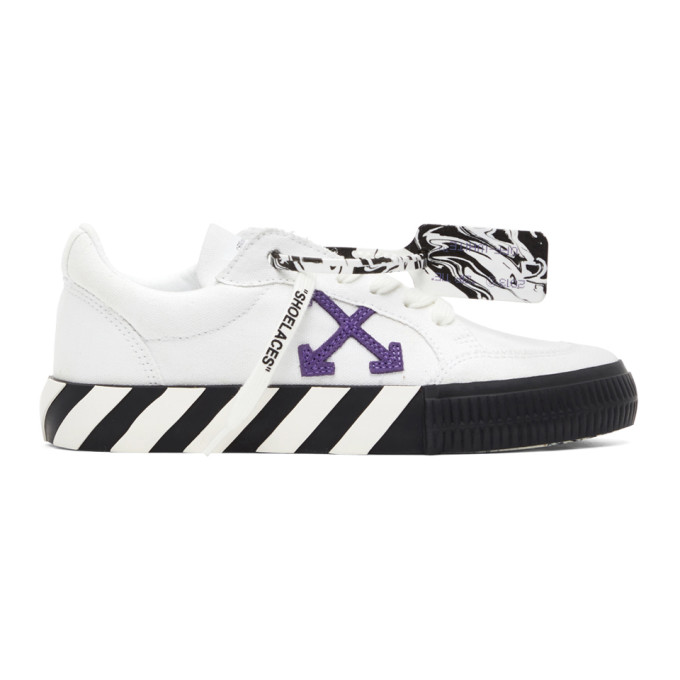 Off-White OFF-WHITE WHITE AND PURPLE VULCANIZED LOW SNEAKERS