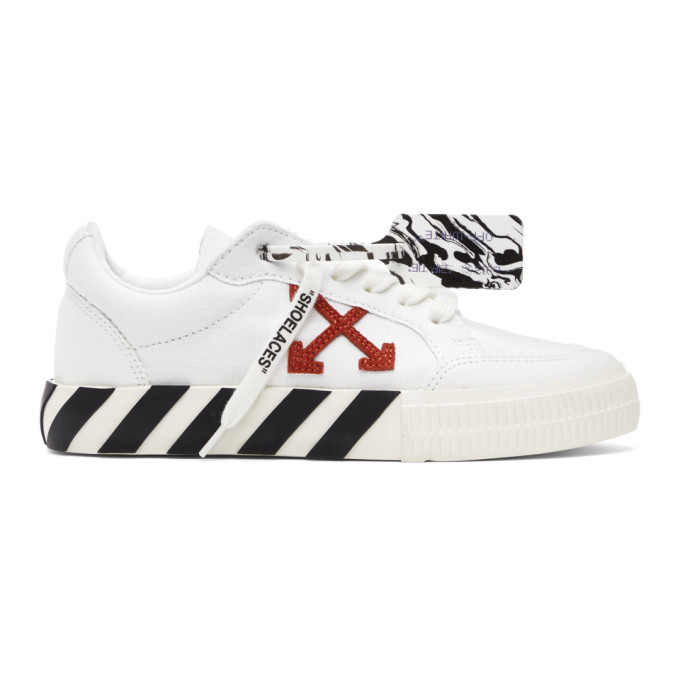 Off-White OFF-WHITE WHITE AND ORANGE VULCANIZED LOW SNEAKERS