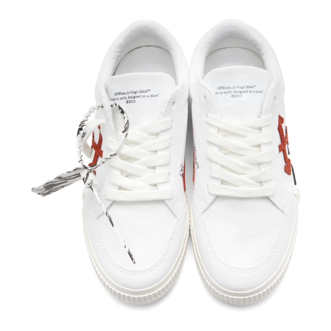 OFF-WHITE Suedes OFF-WHITE WHITE AND ORANGE VULCANIZED LOW SNEAKERS
