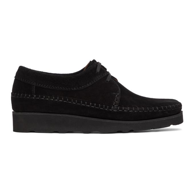 Padmore and Barnes SSENSE 独家发售黑色 Willow 绒面革莫卡辛鞋