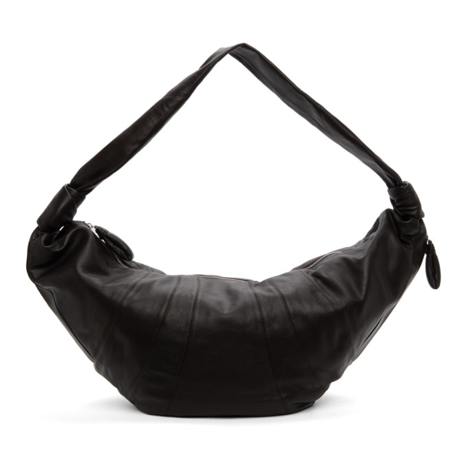 Lemaire Brown Grained Giant Croissant Bag In Black