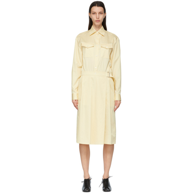 Lemaire Midi dresses LEMAIRE YELLOW TWO-POCKET WRAP SKIRT DRESS