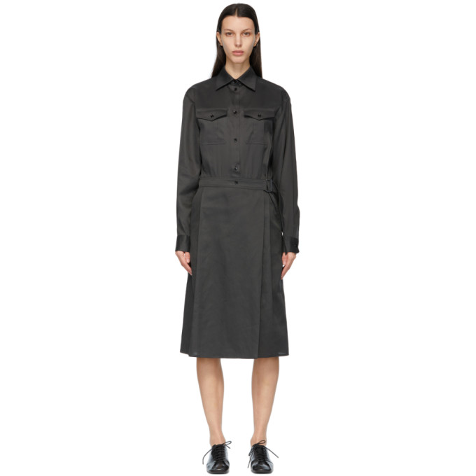 Lemaire LEMAIRE GREY TWO-POCKET WRAP SKIRT DRESS