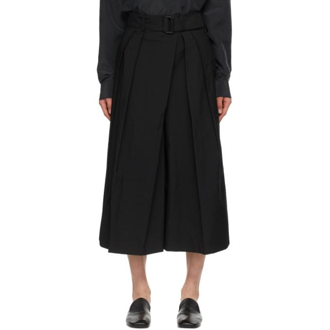 Lemaire Cottons LEMAIRE BLACK ASYMMETRICAL BERMUDA SHORTS