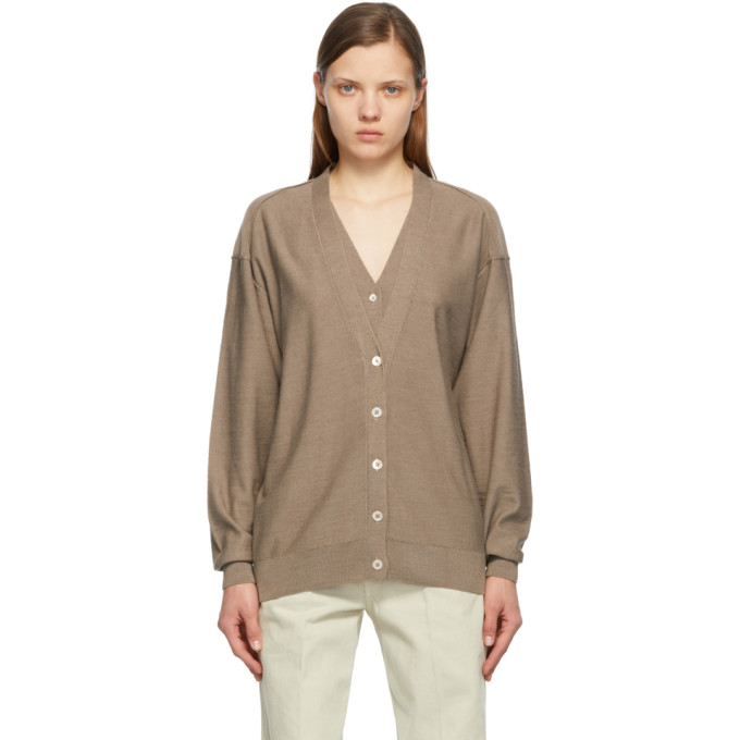 Lemaire Knits LEMAIRE GREY KNITTED DOUBLE COLLAR CARDIGAN