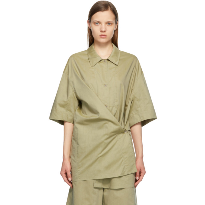 Lemaire LEMAIRE GREEN SILK TWISTED MAXI SHIRT