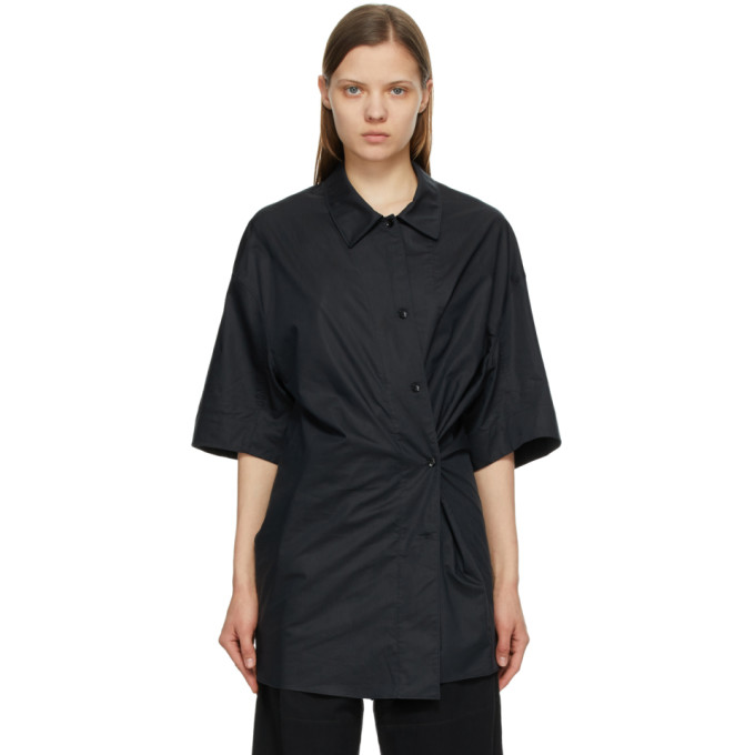 Lemaire LEMAIRE BLACK SILK TWISTED MAXI SHIRT