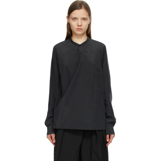Lemaire Tops LEMAIRE GREY SILK WRAPOVER SHIRT