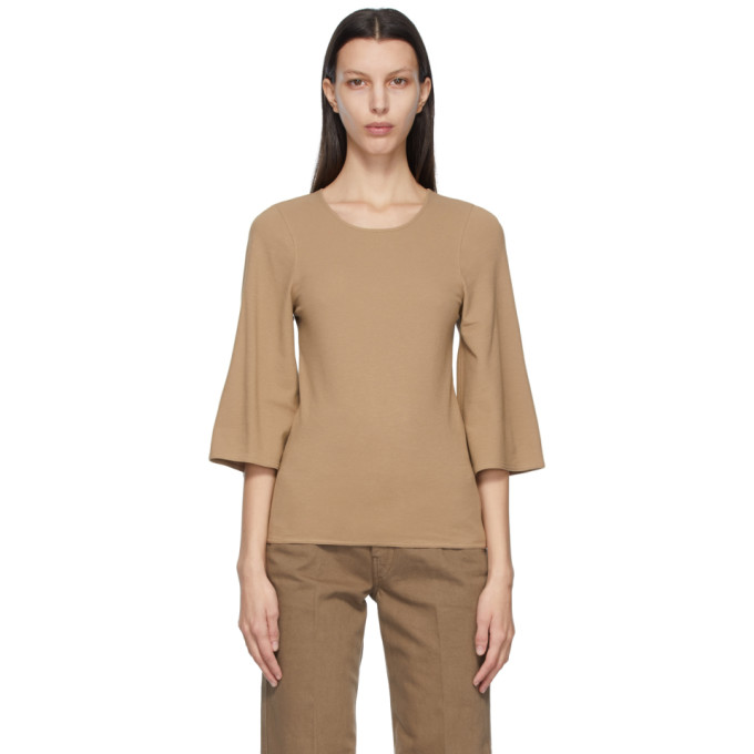 Lemaire Cottons LEMAIRE BROWN CREPE JERSEY THREE-QUARTER SLEEVE T-SHIRT