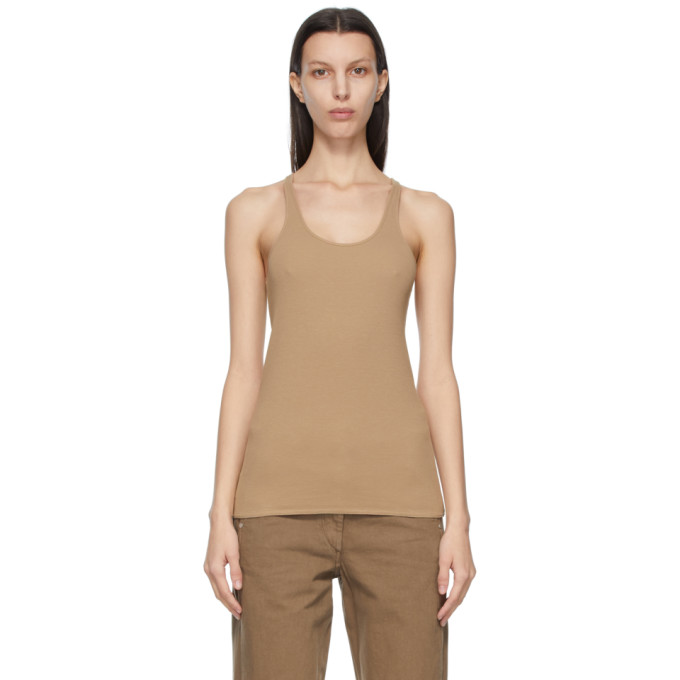 Lemaire LEMAIRE BROWN CREPE JERSEY TANK TOP
