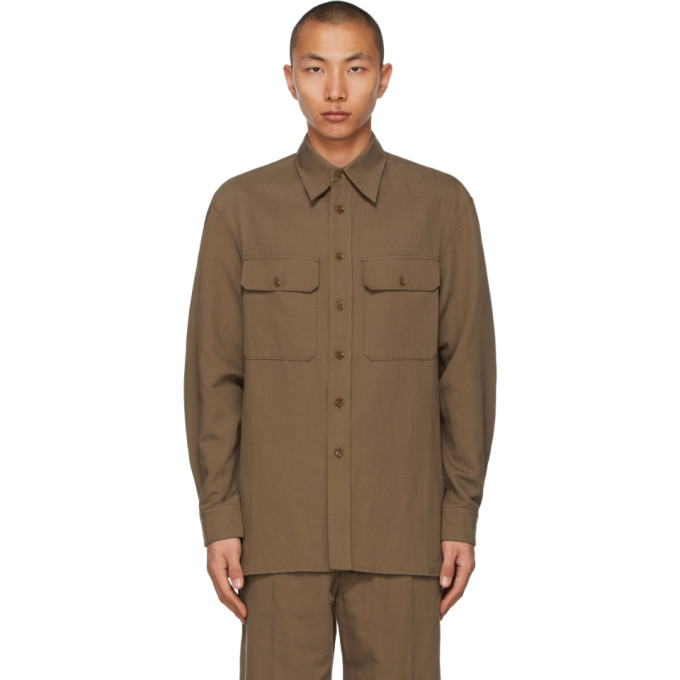 Lemaire Shirts LEMAIRE BROWN OFFICER SHIRT