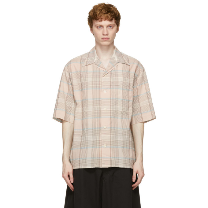 Lemaire Cottons LEMAIRE PINK AND BROWN CHECK SHORT SLEEVE SHIRT