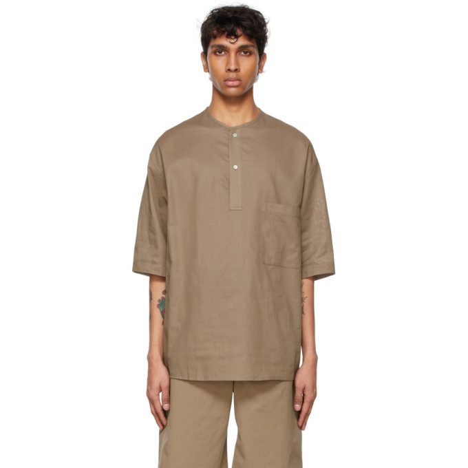 Lemaire Cottons LEMAIRE TAUPE COTTON HENLEY