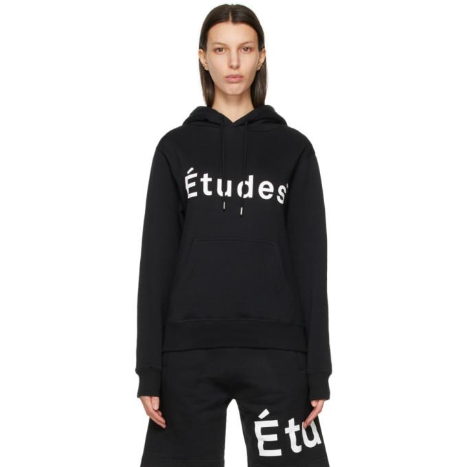 Etudes Pull a capuche et logo noir Klein