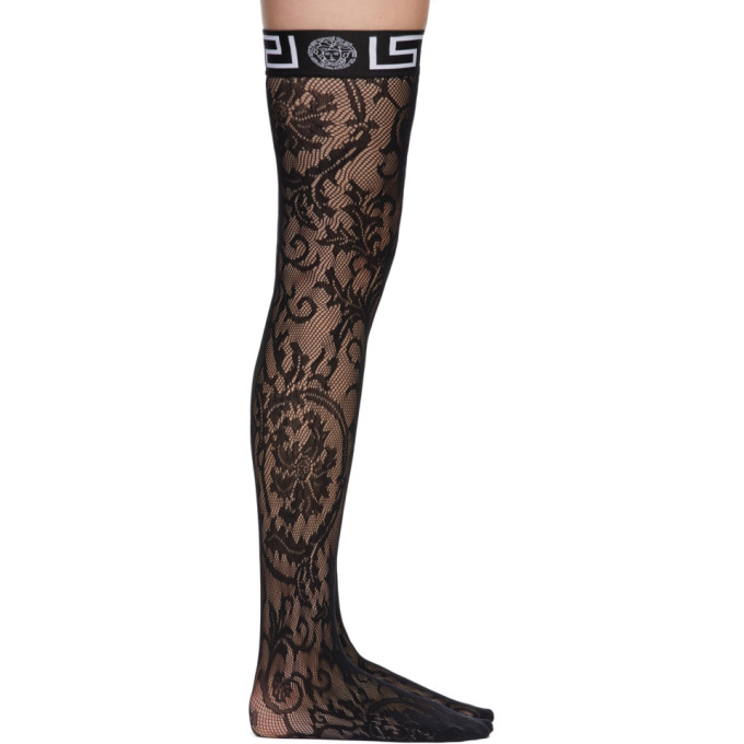 Versace Underwear 黑色 Greca Border 蕾丝长筒袜