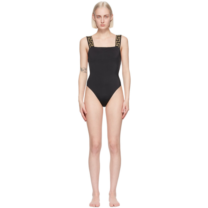 Versace VERSACE UNDERWEAR BLACK GRECA BORDER ONE-PIECE SWIMSUIT