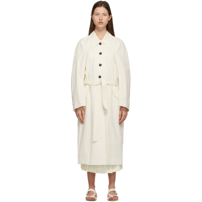 Low Classic LOW CLASSIC OFF-WHITE CURVE SLEEVE TRENCH COAT