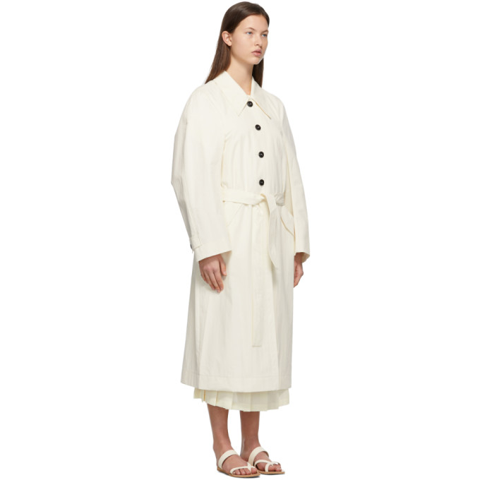 LOW CLASSIC Cottons LOW CLASSIC OFF-WHITE CURVE SLEEVE TRENCH COAT