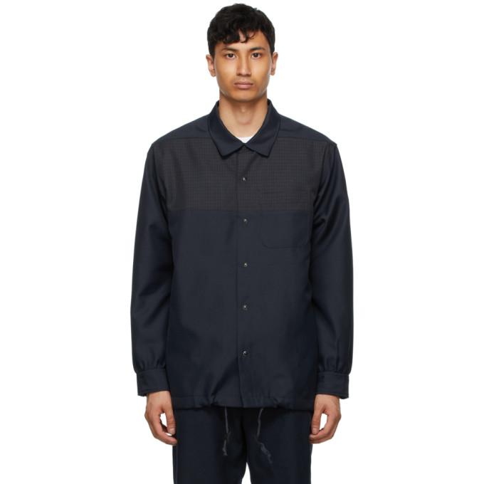 Aïe Navy Twill Coach Shirt In Pt024 Dknvy