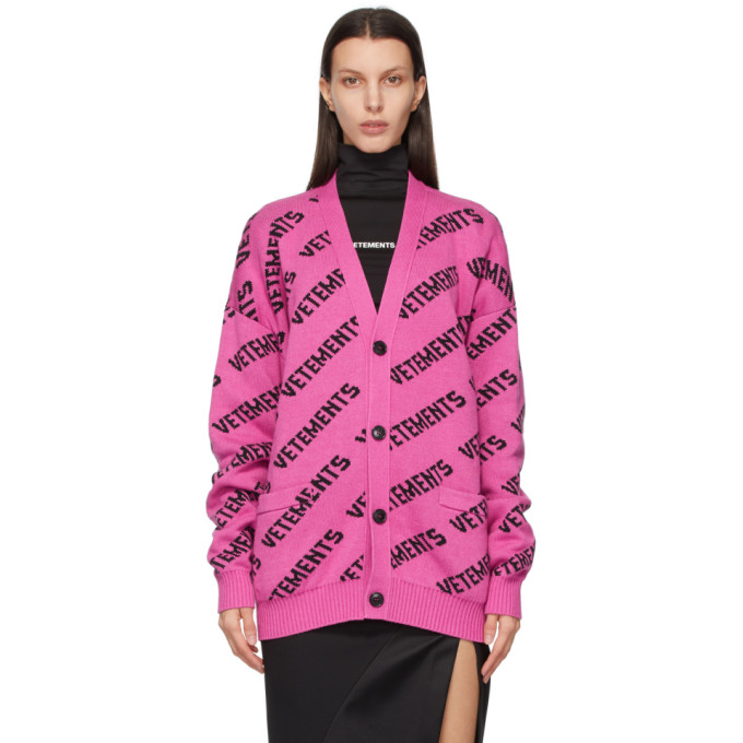 Vetements Cottons VETEMENTS PINK AND BLACK ALLOVER LOGO CARDIGAN