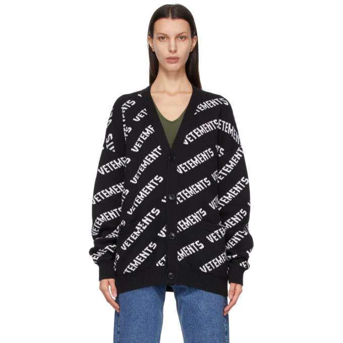 Vetements Cottons VETEMENTS BLACK AND WHITE ALLOVER LOGO CARDIGAN