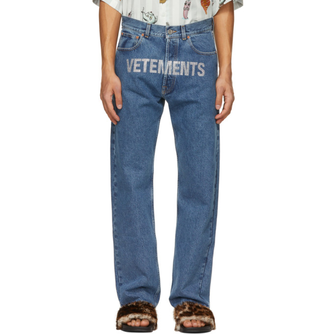 Vetements Crystal Logo Embellished Straight Cut Jeans In Blue 14620082