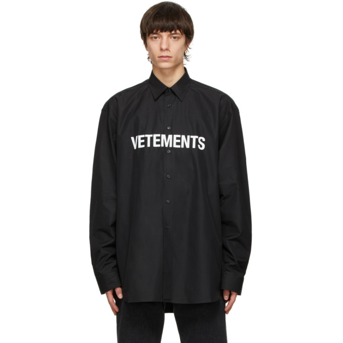 Vetements VETEMENTS BLACK FRONT LOGO SHIRT