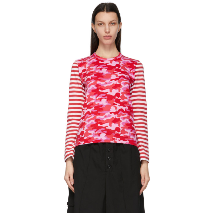 Comme Des Garcons Girl COMME DES GARCONS GIRL PINK CAMO AND STRIPE LONG SLEEVE T-SHIRT