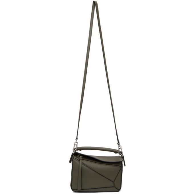 Loewe Puzzle Mini Leather Shoulder Bag In 4160 Khaki