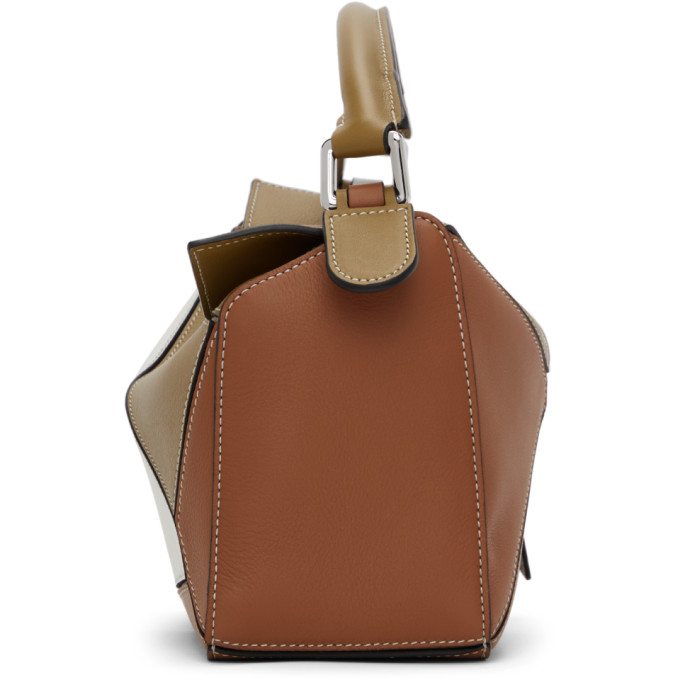LOEWE Leathers LOEWE KHAKI AND TAN SMALL PUZZLE BAG