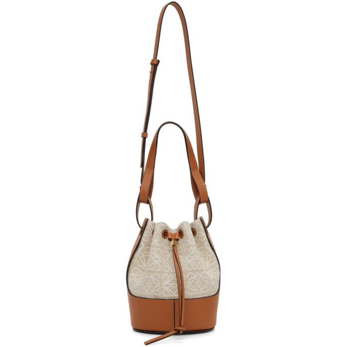 Loewe Balloon Small Logo-embroidered Canvas Shoulder Bag In 2426 Ecru/tan
