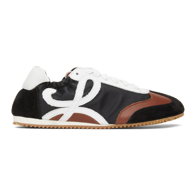LOEWE LOEWE BLACK AND BROWN BALLET RUNNER SNEAKERS