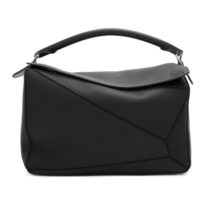 Loewe Puzzle Extra-large Leather And Cotton Holdall Bag In 1100 Black