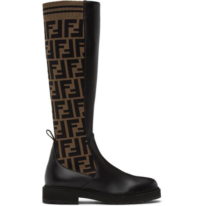 Fendi FENDI BROWN AND BLACK FOREVER FENDI ROCKOKO TALL BOOTS
