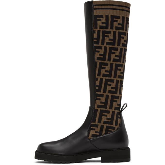 FENDI Boots FENDI BROWN AND BLACK FOREVER FENDI ROCKOKO TALL BOOTS