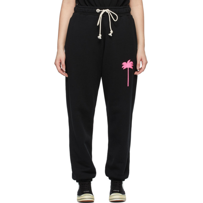 Palm Angels PALM ANGELS BLACK PRINTED PALM TREE LOUNGE PANTS