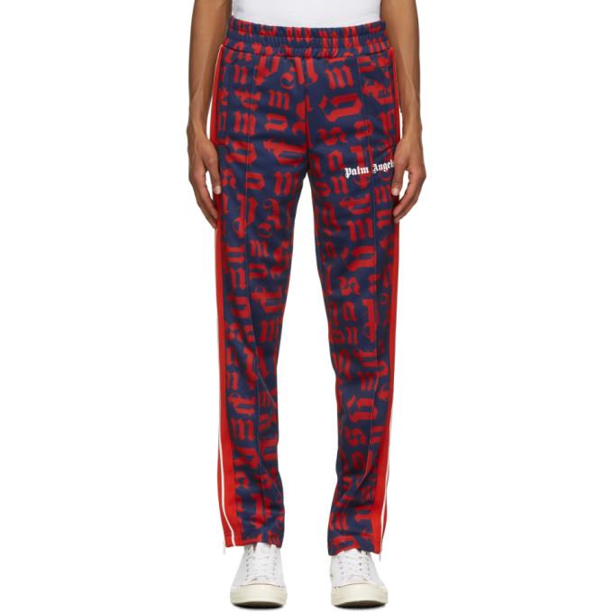 Palm Angels 海军蓝 and 红色 Monogram 运动裤