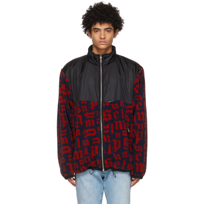Palm Angels Jackets PALM ANGELS NAVY AND RED MONOGRAM PILE JACKET