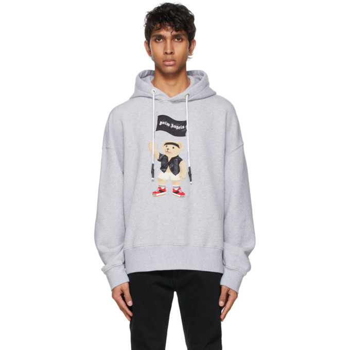 Palm Angels Pirate Bear Oversize Cotton Hoodie In Melange Gre
