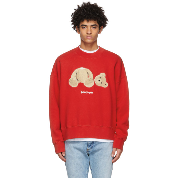 Palm Angels Cottons PALM ANGELS RED BEAR SWEATSHIRT