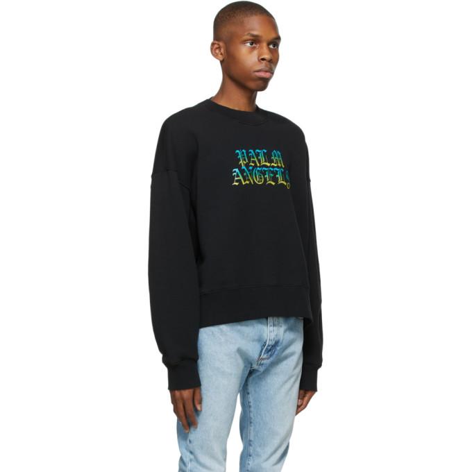 PALM ANGELS Sweatshirts PALM ANGELS BLACK HUE GOTHIC LOGO SWEATSHIRT