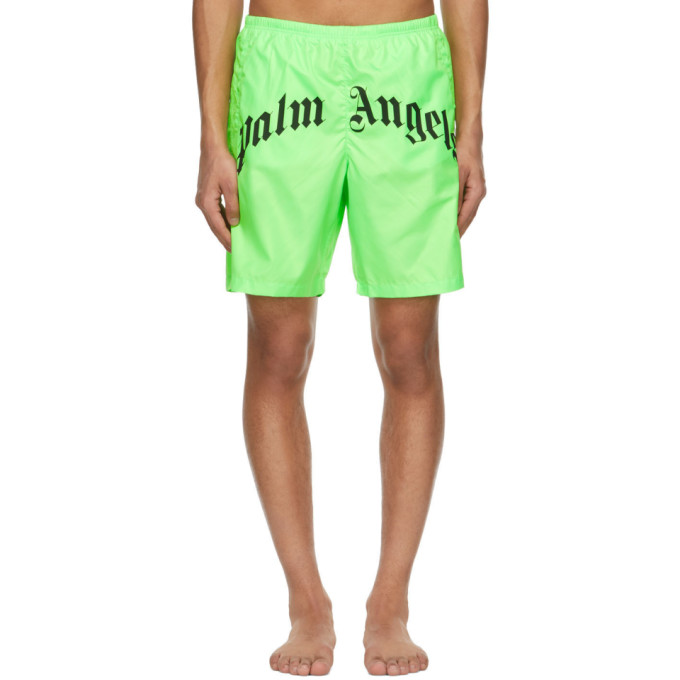 Palm Angels Bold Curved Logo Swim Short, Fluorescent Green In Green Fluo