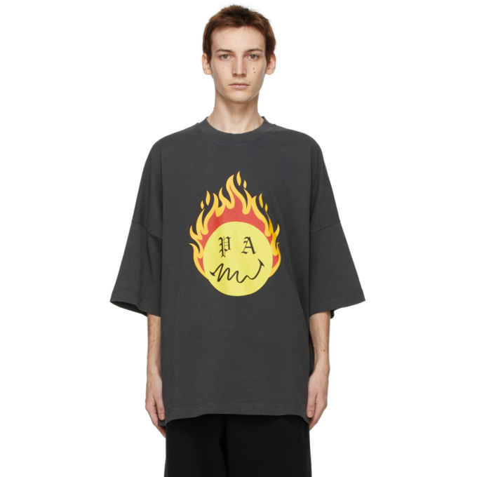 PALM ANGELS PALM ANGELS BLACK SMILEY EDITION BURNING HEAD T-SHIRT